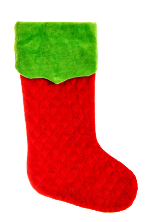 stockings: Christmas stocking. Red green sock isolated on white background. Winter holidays symbol Stock Photo