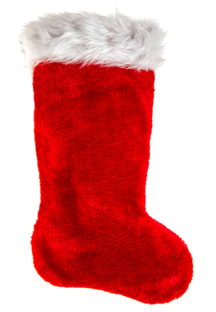 christmas stockings: Red christmas stocking. Decoration object isolated on white background. Winter holidays symbol