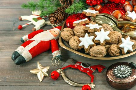 accessories horse: Christmas cookies and vintage decoration. Festive seasonal food