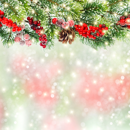 Christmas tree branches decoration with red berries and golden lights on blurred background Stockfoto