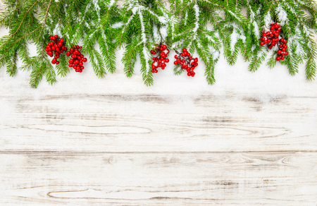 Christmas tree branch with red berries on wooden background. Winter decoration