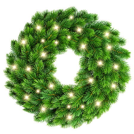 isolated: Christmas wreath with golden lights decoration isolated on white background Stock Photo