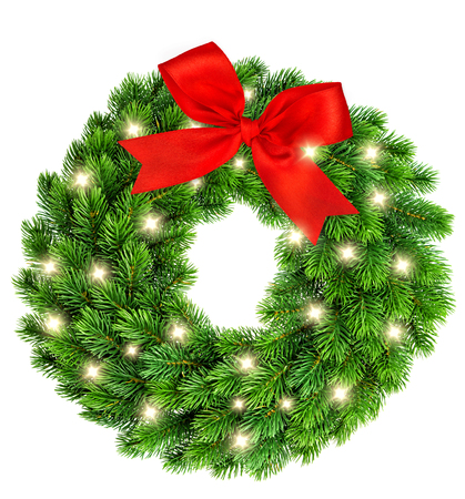 ring: Christmas wreath with golden lights and red ribbon bow decoration isolated on white background