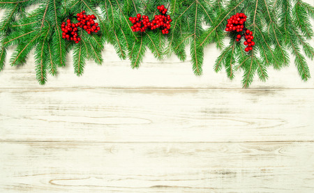 hollyberry: Christmas tree branches with red berries on wooden background. Holidays decoration. Vintage style toned picture