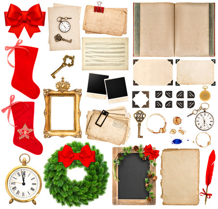 corner clock: Christmas holidays scrapbooking elements. photo frames and corners, old book pages, paper sheets, ribbon, red stocking isolated on white background