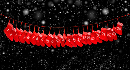 Advent calendar 1-24. Red christmas stocking decoration on black background with falling snow effect. Holidays banner
