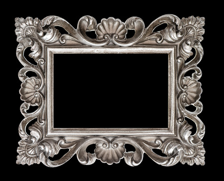 over black: Vintage silver baroque style picture frame isolated over black background