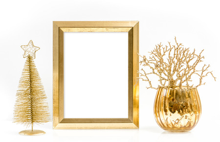 golden picture frame and shiny christmas ornaments festive decoration stock photo 49645533