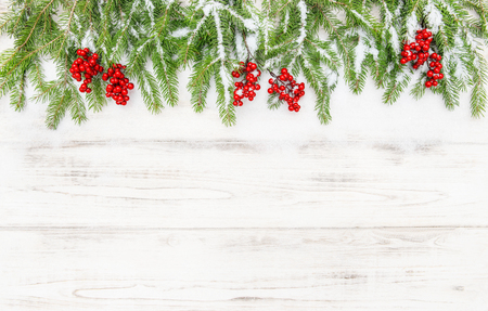hollyberry: Christmas decoration. Coniferous tree branches with red berries on wooden background Stock Photo