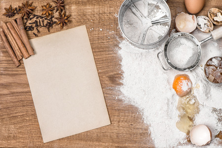 recipe book: Food background. Baking tools and ingredients. Recipe book concept Stock Photo
