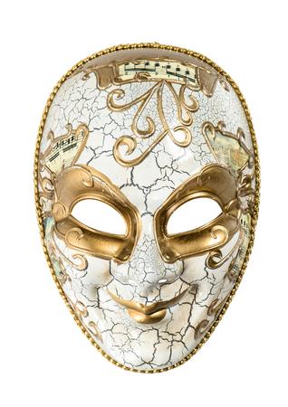 arlecchino: Maschera di Carnevale Arlecchino isolato su sfondo bianco. Marted� grasso. Archivio Fotografico