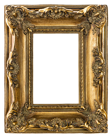 Golden baroque picture frame on white background. Vintage style object