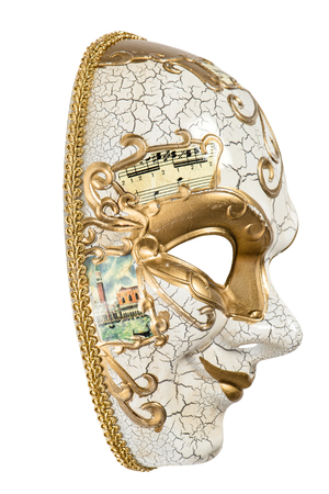 harlequin: Carnival mask harlequin isolated on white background. Mardi gras