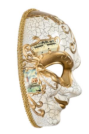 arlecchino: Maschera di Carnevale Arlecchino isolato su sfondo bianco. Martedì grasso