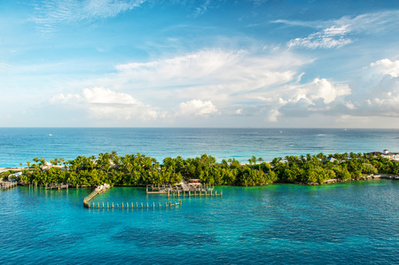 Turquoise sea water and blue sky. Landscape Caribbean sea. Bahamas. Nassau Stock Photo