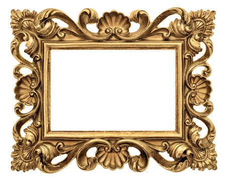 gold picture frame: Frame for picture, photo, image. Vintage golden baroque style object isolated on white background Stock Photo