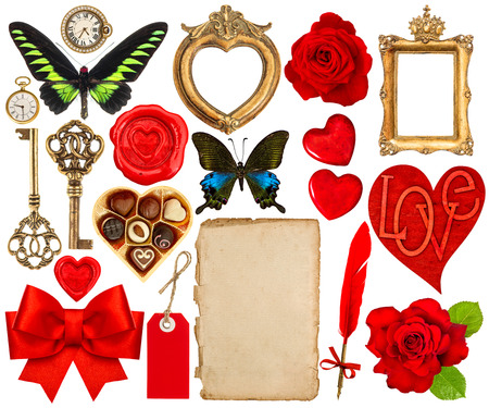 red wax seal: Collection of various objects for Valentines Day scrapbook. Paper page, red hearts, photo frame, flower, butterfly, red ribbon bow