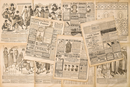 Newspaper pages with antique advertising. Fashion magazine for woman