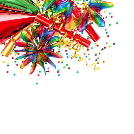 popper: Party decoration with garlands and confetti. Festive background