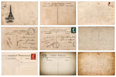 ephemera: Antique french postcard with stamp from Paris. Scrapbook elements Stock Photo