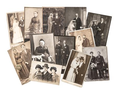 nostalgic: Vintage family and wedding photos. Nostalgic sentimental pictures on white background