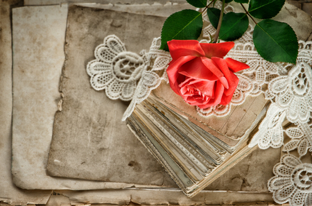 old letters: Old love letters, red rose flower and vintage lace