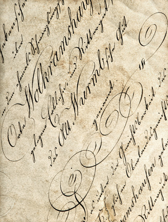 antique paper: Antique calligraphy. Grungy worn paper texture Stock Photo