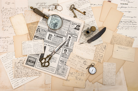 old letters: Vintage office tools, old letters, newspapers and postcards