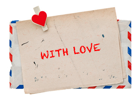 air mail: Retro style love letter. Vintage air mail envelope. Grungy paper. With Love Stock Photo