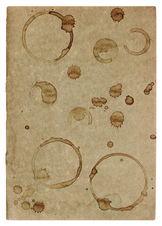 edges: Used paper page texture with coffee stains and worn edges