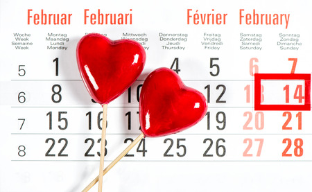 14 february: Valentines day Calendar. 14 February. Decoration red hearts