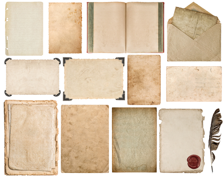 old page: Paper sheet, book, envelope, cardboard, photo frame with corner isolated on white background
