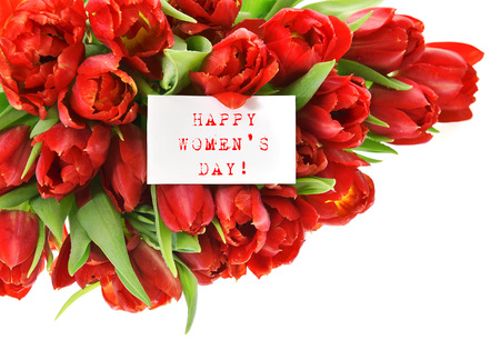 womens day: Red tulips with white paper card with sample text Happy Womens Day! Spring flowers Stock Photo