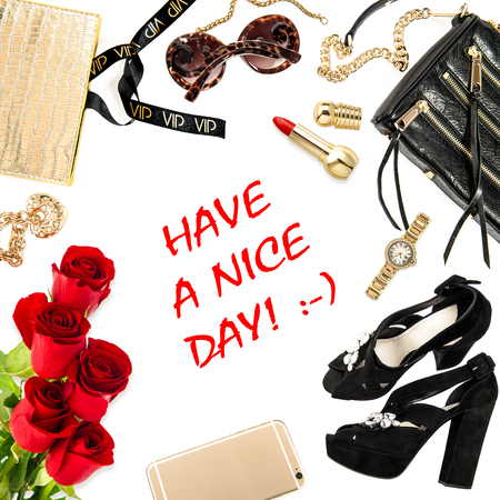 nice girl: Fashion lady website concept. Accessories, cosmetics, shoes, mobile phone, jewelry and flowers. Have a nice day!