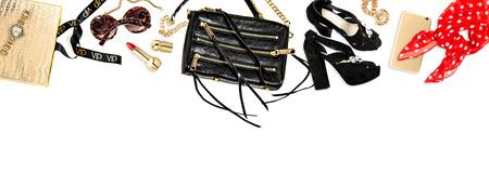 cosmetics bag: Hero header. Fashion accessories, cosmetics, bag, shoes. Feminine website
