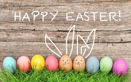 conejo: Huevos de Pascua y conejito lindo en la hierba verde. Decoración festiva. ¡Felices Pascuas!