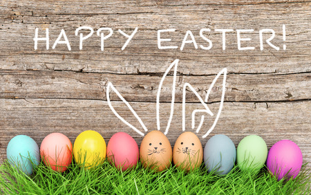 Easter eggs and cute bunny in green grass. Festive decoration. Happy Easter! Standard-Bild