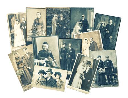 sentimental: Vintage family and wedding photos. Nostalgic sentimental pictures on white background. Retro style toned Stock Photo