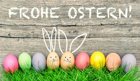frohe: Easter eggs cute bunny. Funny decoration. Frohe Ostern - Happy Easter in german