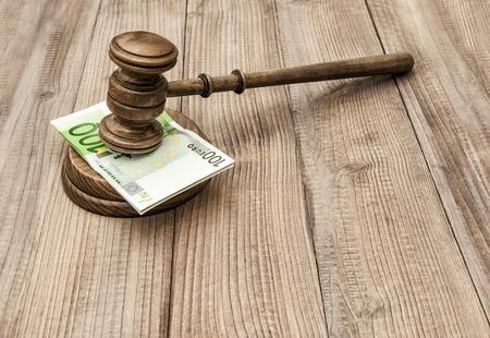 soundboard: Auctioneer hammer with soundboard. Judges gavel and euro banknotes