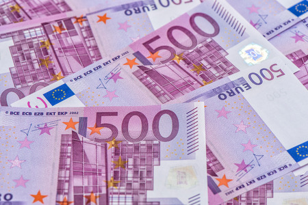 international crisis: Five hundred notes. European Union Currency. Money Background Stock Photo