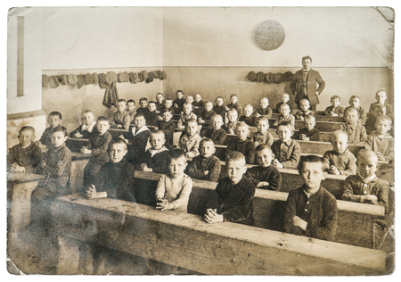 Antique portrait of classmates. Group of children in the classroom