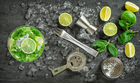 martini shaker: Cocktail drink making tools and ingredients. Cold drink. Mojito. Caipirinha. Vibrant colors