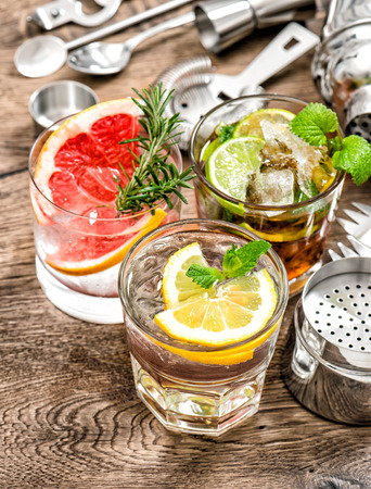 nonalcoholic: Cocktails with fruits and ice. Alcoholic and nonalcoholic cold drinks