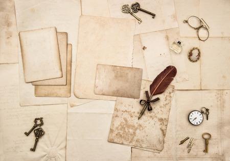 nostalgic: Vintage letters and handwritten postcards. Nostalgic romantic paper background. Scrapbook. Flat lay Stock Photo