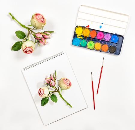 flat brushes: Sketchbook, watercolor, brushes, paper, rose flowers. Artistic background. Flat lay