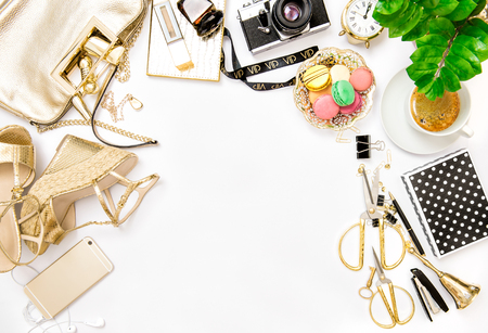 Feminine Accessories With Bag, Shoes And Office Supplies On White  Background Stock Photo   64465907