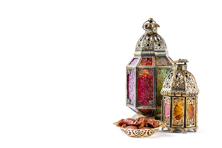 holy jug: Oriental holidays decoration light lantern on white background.