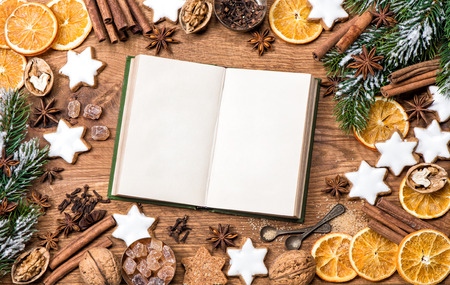 recipe book: Christmas cookies, spices and recipe book.