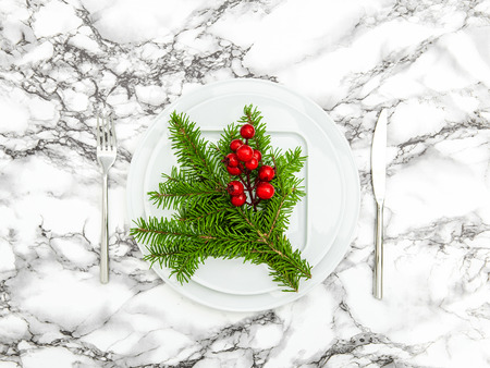 red berries: Christmas table decoration. Pine branches and red berries. Top view